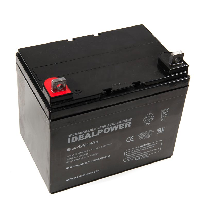 Product Photo of ELA-12V-34AH - IDEALPOWER 12V 34AH SEALED LEAD ACID BATTERY