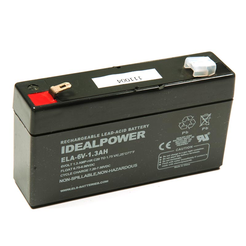 Product Photo of ELA-6V-1.3AH - IDEALPOWER 6V 1.3AH SEALED LEAD ACID BATTERY