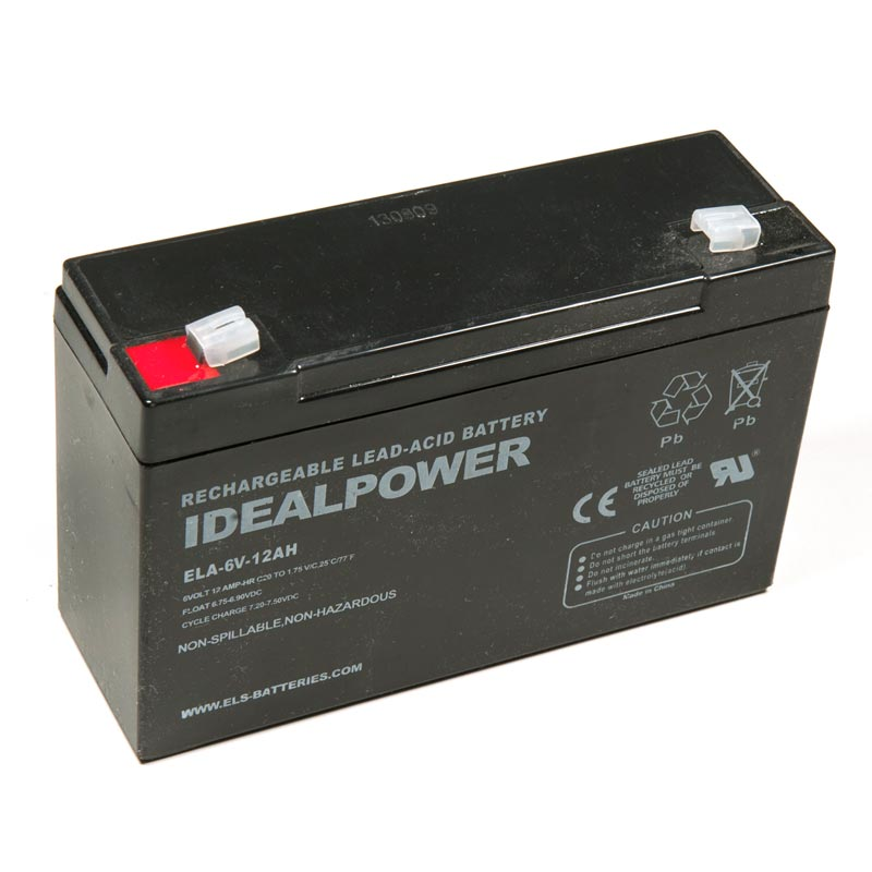 Product Photo of ELA-6V-12AH - IDEALPOWER 6V 12AH SEALED LEAD ACID BATTERY
