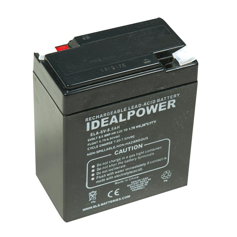 Product Photo of ELA-6V-8.5AH - IDEALPOWER 6V 8.5AH SEALED LEAD ACID BATTERY