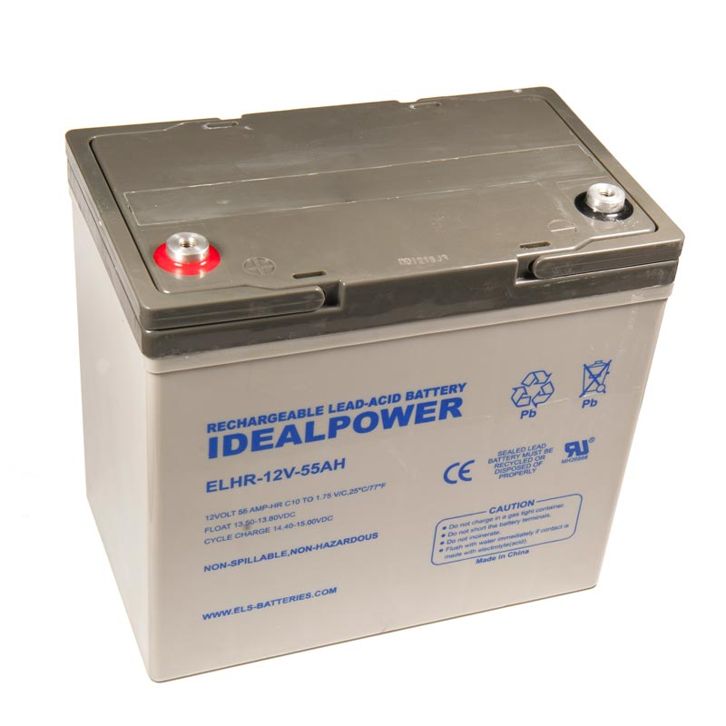 Product Photo of ELHR-12V-55AH - IDEALPOWER 12V 55AH SEALED LEAD ACID BATTERY