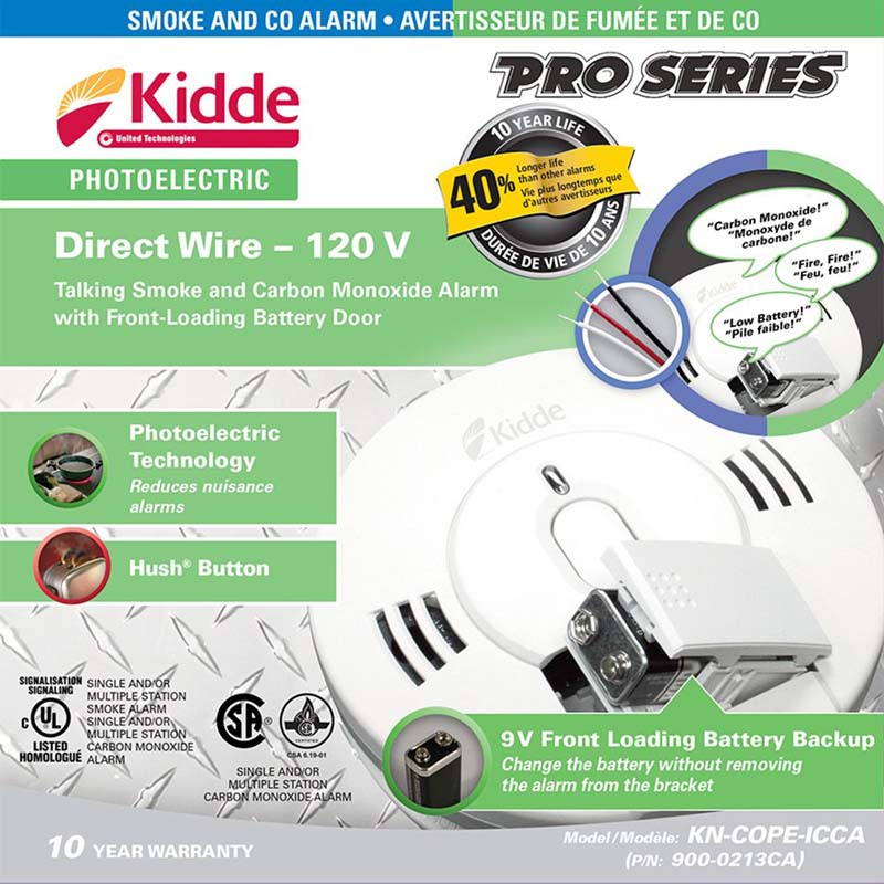 Product Photo of KIDDE-900-0213 - Kidde 900-0213 Smoke/CO Combo 120VAC C/W BBU