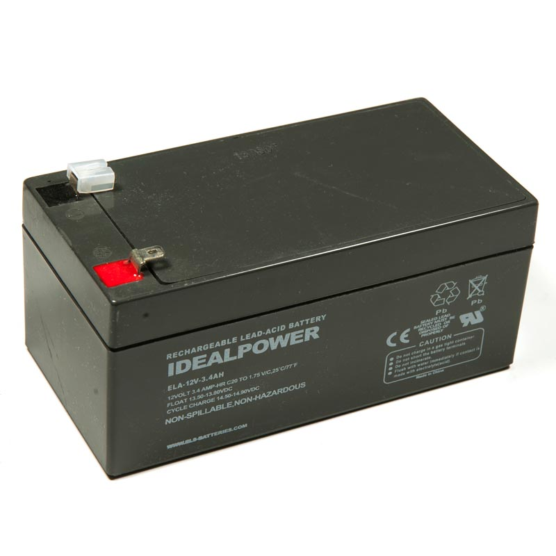Product Photo of ELA-12V-3.4AH - IDEALPOWER 12V 3.4AH SEALED LEAD ACID BATTERY