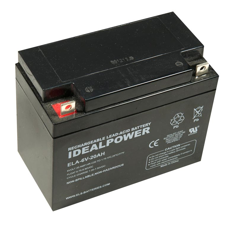 Product Photo of ELA-6V-20AH - IDEALPOWER 6V 20AH SEALED LEAD ACID BATTERY