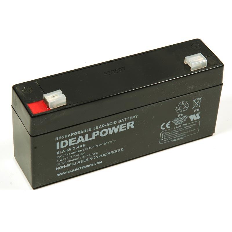 Product Photo of ELA-6V-3.4AH - IDEALPOWER 6V 3.4AH SEALED LEAD ACID BATTERY
