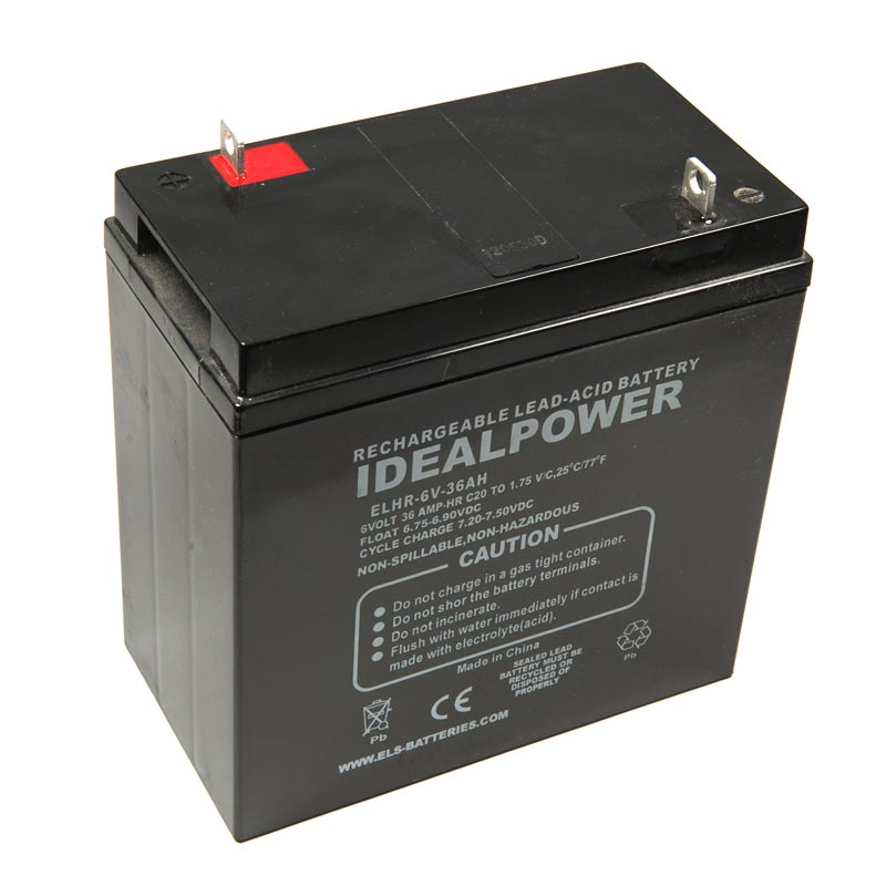 Product Photo of ELA-6V-36AH - IDEALPOWER 6V 36AH SEALED LEAD ACID BATTERY