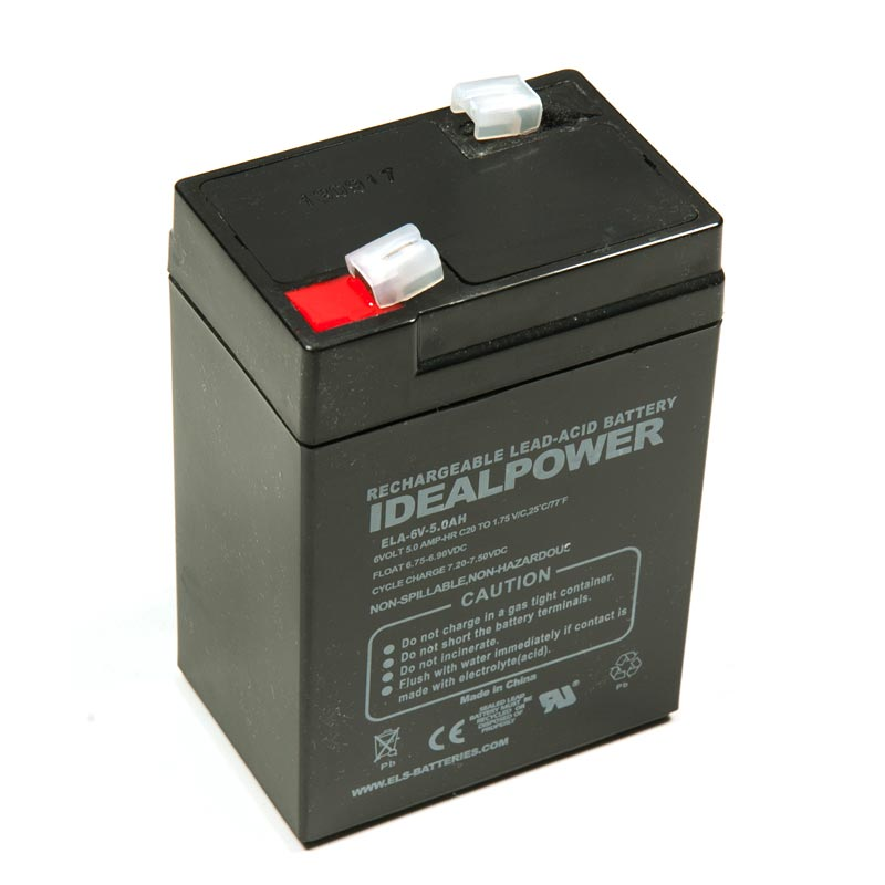 Product Photo of ELA-6V-5.0AH - IDEALPOWER 6V 5.0AH SEALED LEAD ACID BATTERY