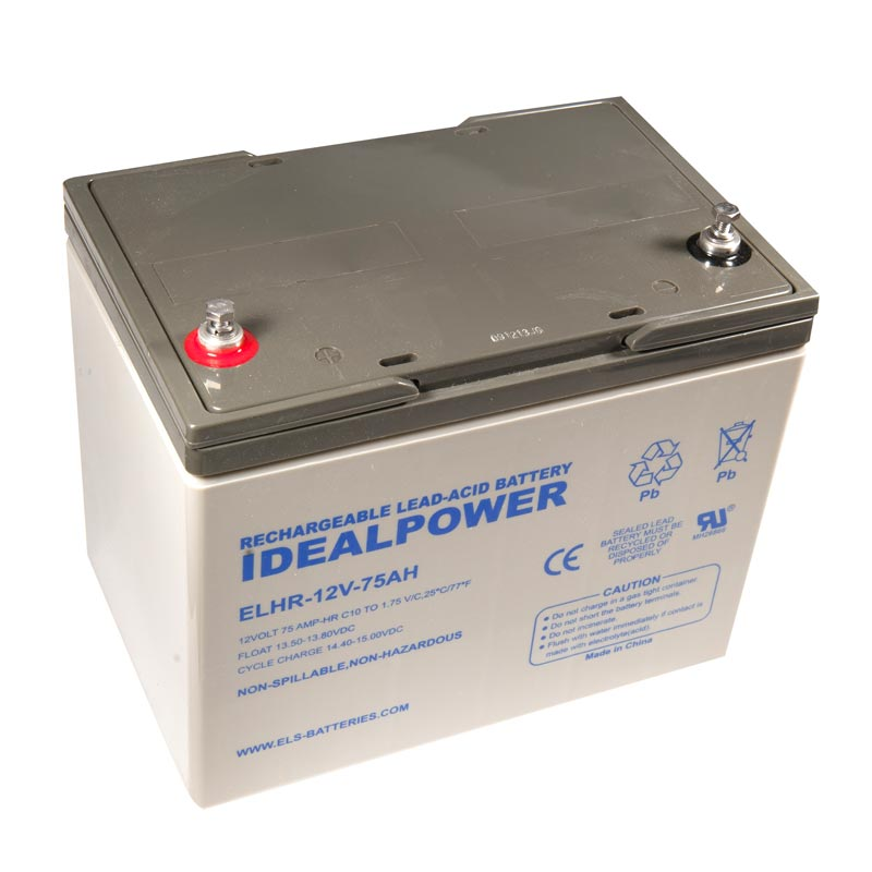 Product Photo of ELHR-12V-75AH - IDEALPOWER 12V 75AH SEALED LEAD ACID BATTERY