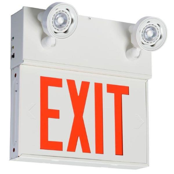 Product Photo of EX10W-P7-2LA - Emergilite EX10W-P7-2LA Steel Emergency Lighting/Exit Sign Combination Unit