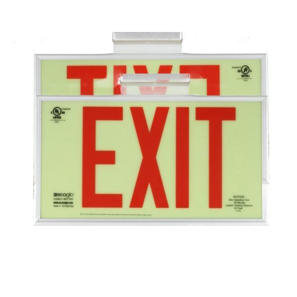 Product Photo of PHOTO-2X-EX37 - Ecoglo Self-Illuminating Photoluminiscent DBL-sided Framed Exit Sign