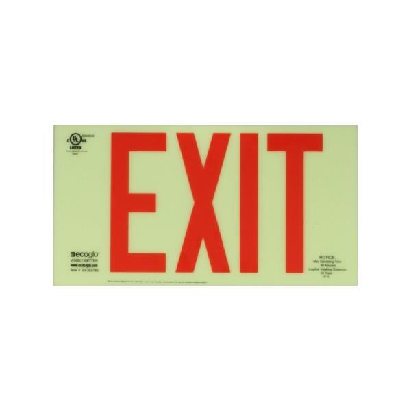 Product Photo of PHOTO-EX35 - Ecoglo Self-Illuminating Photoluminiscent Unframed Exit Sign