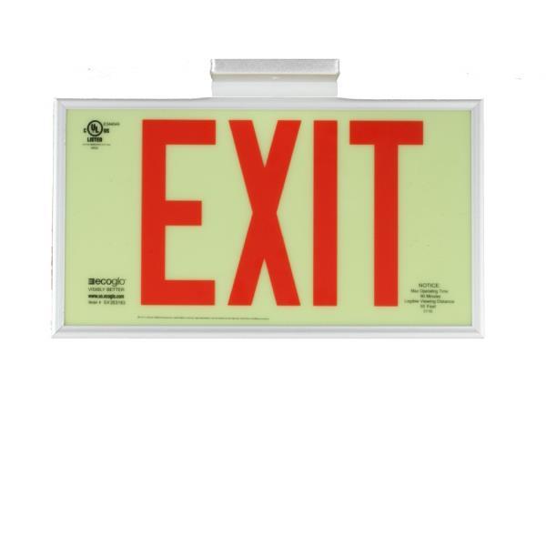 Product Photo of PHOTO-EX37 - Ecoglo Self-Illuminating Photoluminiscent Framed Exit Sign