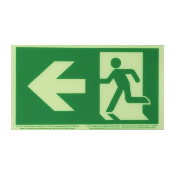 Product Photo of PHOTO-RM-LA50 - Ecoglo Self-Illuminating Photoluminiscent Unframed Running Man Sign- Arrow Left