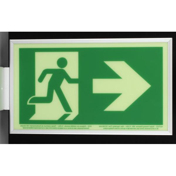 Product Photo of PHOTO-RM-RA50-CA - Ecoglo Self-Illuminating Photoluminiscent Framed Running Man Sign - Arrow Right