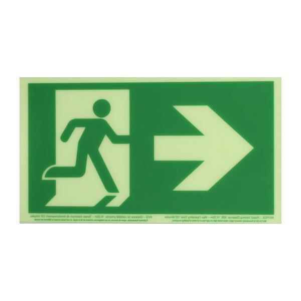 Product Photo of PHOTO-RM-RA50 - Ecoglo Self-Illuminating Photoluminiscent Unframed Running Man Sign- Arrow Right