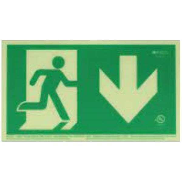 Product Photo of PHOTO-RM-RD50 - Ecoglo Self-Illuminating Photoluminiscent Unframed Running Man Sign- Arrow Down
