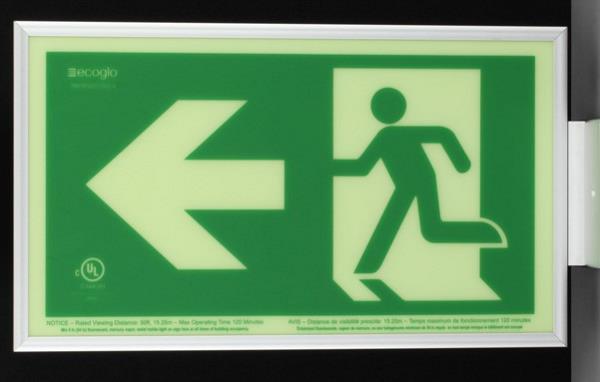 Product Photo of PHOTO-RM-RL50-CA - Ecoglo Self-Illuminating Photoluminiscent Framed Running Man Sign - Arrow Left