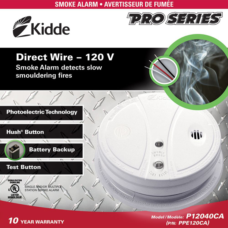 Product Photo of KIDDE-PPE120CA - Kidde PPE120CA Smoke Alarm 120VAC W/ BBU