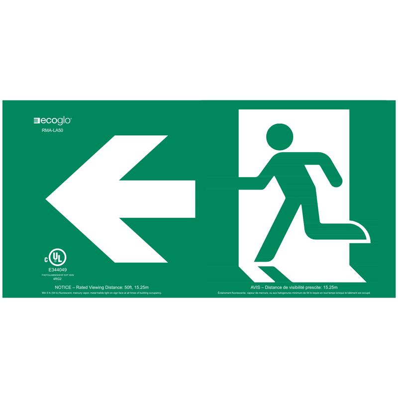 Product Photo of PHOTO-RMA-LA50 - Ecoglo Self-Illuminating Photoluminiscent Acrylic Running Man Sign - Arrow Left